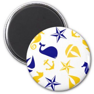 Yellow Blue Nautical Scatter 2 Inch Round Magnet