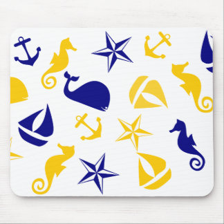 Yellow Blue Nautical Scatter Mouse Pads