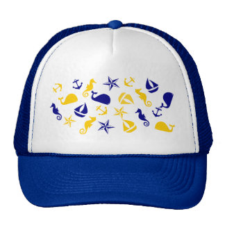 Yellow Blue Nautical Scatter Trucker Hat