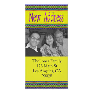 yellow blue new address picture card