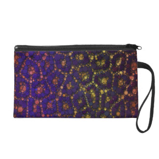 Yellow Blue Orange Cheetah Wristlet Purse