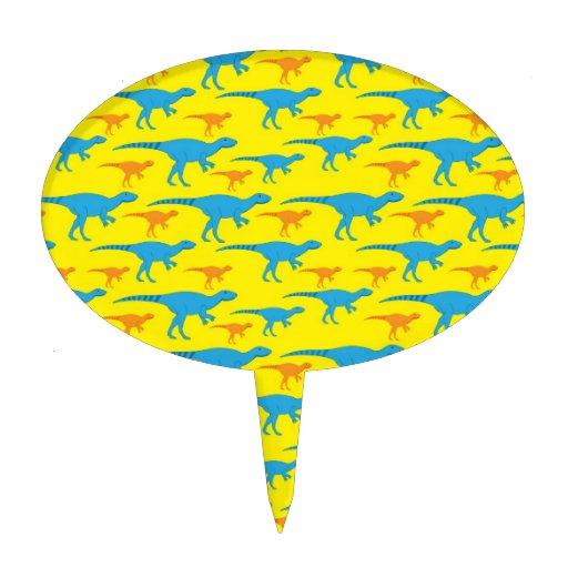 Yellow Blue Orange Dinosaur Designs Pattern Gifts Oval Cake Pick