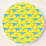 Yellow Blue Orange Dinosaur Designs Pattern Gifts Beverage Coasters