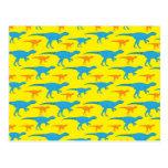 Yellow Blue Orange Dinosaur Designs Pattern Gifts Post Card