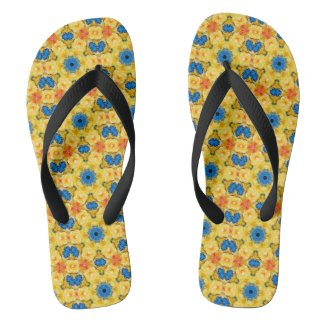 Yellow Blue Orange Flip Flops