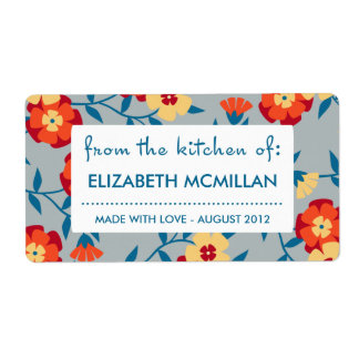 Yellow, Blue & Orange Modern Floral Canning Labels