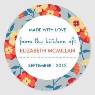 Yellow, Blue & Orange Modern Floral Canning Labels Classic Round Sticker