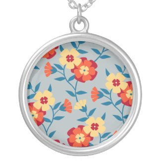 Yellow, Blue & Orange Modern Floral Necklace