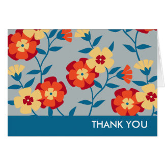 Yellow, Blue & Orange Modern Floral Note Card
