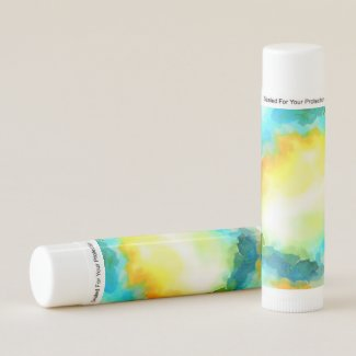 Yellow Blue Orange Watercolor Art Lip Balm