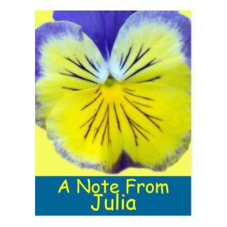 Yellow Blue Pansy Postcard