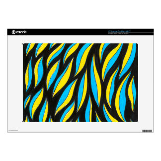 yellow blue pattern decal for laptop