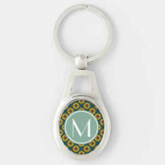 Yellow Blue Pattern with Mint and White Monogram Silver-Colored Oval Metal Keychain