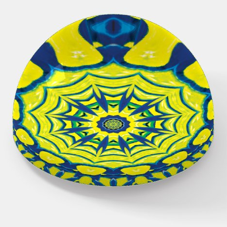 Yellow-Blue Periwinkle in a House of Mirrors Paperweight
