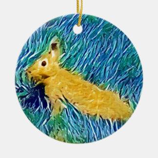 Yellow Blue Photomanipulation Painted Bunny Ceramic Ornament