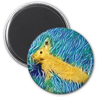 Yellow Blue Photomanipulation Painted Bunny Magnet