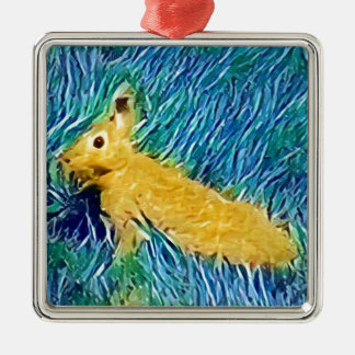 Yellow Blue Photomanipulation Painted Bunny Metal Ornament