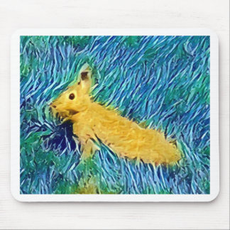 Yellow Blue Photomanipulation Painted Bunny Mouse Pad