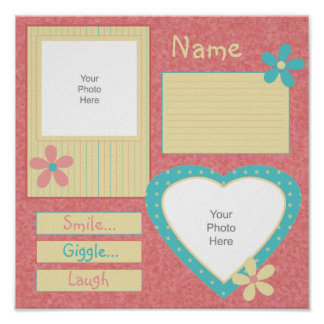 Yellow, Blue & Pink Smiles Scrapbook Page Poster