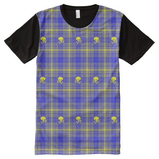Yellow Blue Plaid Skull Hip Cool American Apparel All Over