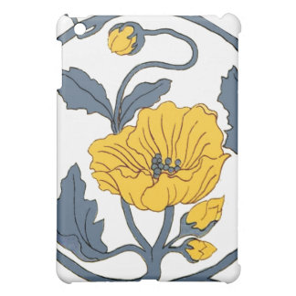 Yellow Blue Poppy Flower Ceramic Tile Vintage Cover For The iPad Mini