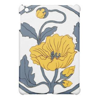 Yellow Blue Poppy Flower Ceramic Tile Vintage Cover For The iPad Mini