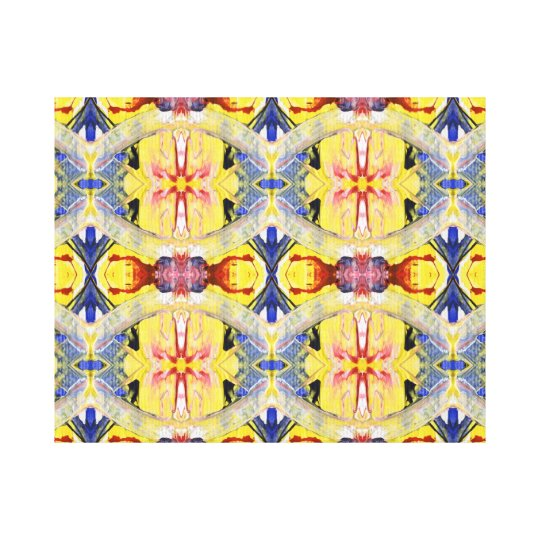 Yellow Blue Red Kaleidoscope design Canvas Print