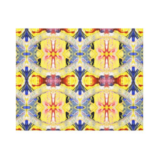 Yellow Blue Red Kaleidoscope design Canvas Prints