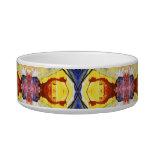 Yellow Blue Red Kaleidoscope design Cat Water Bowls