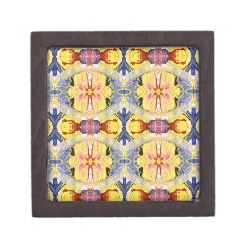 Yellow Blue Red Kaleidoscope design Premium Trinket Box