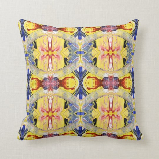 Yellow Blue Red Kaleidoscope design Throw Pillow
