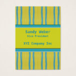 Yellow Blue retro Distressed lines Business Card