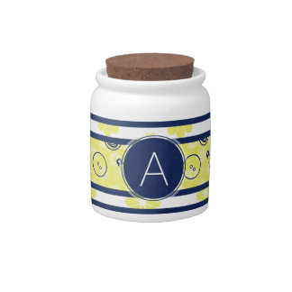 Yellow Blue Sewing Pattern with Monogram Candy Jars