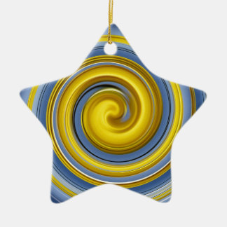 Yellow-blue spiral sample ceramic ornament