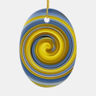 Yellow-blue spiral sample christmas tree ornament