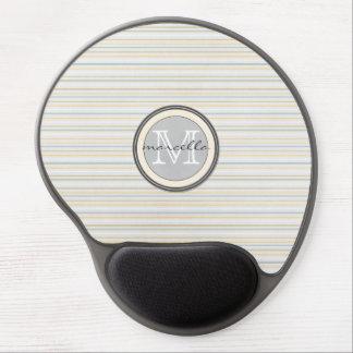 Yellow Blue Stripe Monogram Gel Mouse Pad