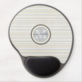 Yellow Blue Stripe Monogram Gel Mouse Pads