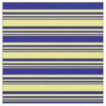 [ Thumbnail: Yellow & Blue Striped/Lined Pattern Fabric ]