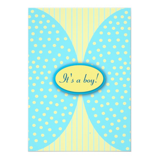 Yellow & Blue Stripes Dots Baby Shower Invitations