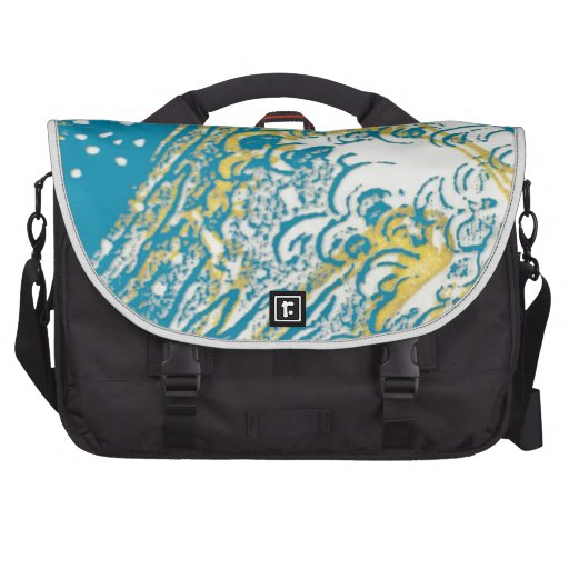 Yellow blue swirl waves bag for laptop