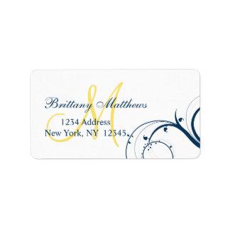 Yellow Blue Swirl Wedding RSVP Address Label