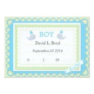 """Yellow/blue (theme)It's A Baby Boy Announcement 5"""" X 7"""" Invitation Card"""