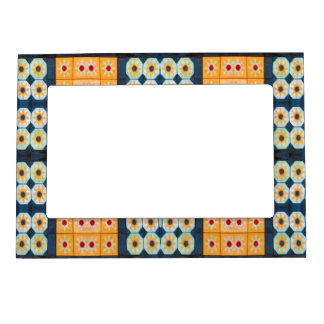 yellow blue tile pattern magnetic frame