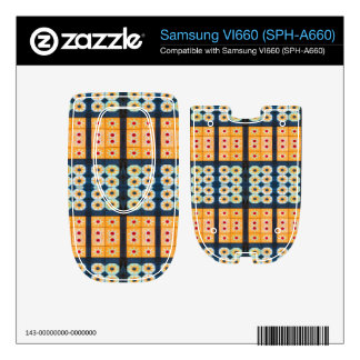 Yellow blue tile pattern decals for samsung VI660