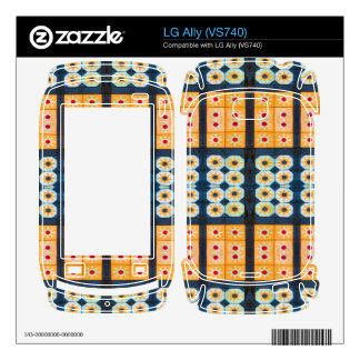 Yellow blue tile pattern decals for the LG ally