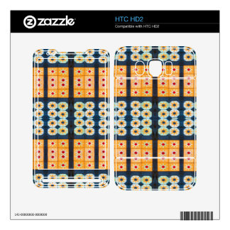Yellow blue tile pattern decals for the HTC HD2