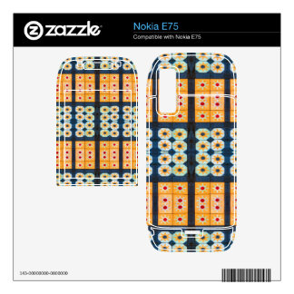 Yellow blue tile pattern decals for nokia e75