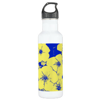Yellow Blue Tropical Flowers 24oz Water Bottle