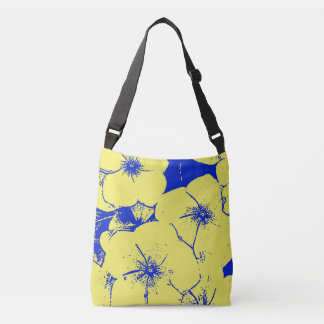 Yellow Blue Tropical Flowers Tote Bag