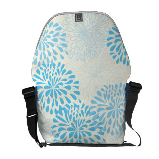Yellow Blue Vintage Modern Floral Pattern Rickshaw Courier Bags